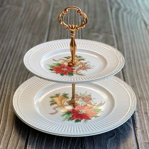 Countryside Holiday 2 Tier Porcelain Serving Tray